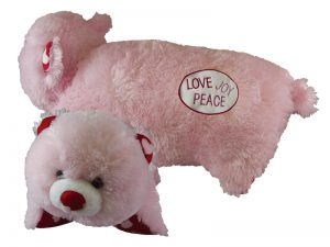 PLUSH BEAR CUSHION PINK