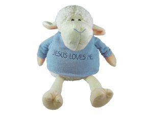 PLUSH LAMB W/SWEATER BLUE 9in
