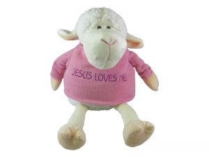 PLUSH LAMB W/SWEATER PINK 9in