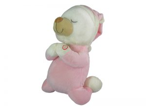 PLUSH PRAYING BEAR W/SOUND PINK 12in