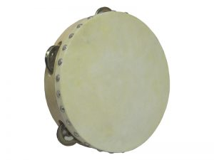 TAMBOURINE SINGLE ROW W/SKIN 8in