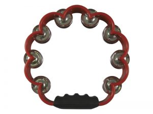 TAMBOURINE SCALLOPED RED 8in