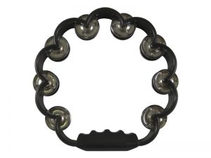 TAMBOURINE SCALLOPED BLACK 8in