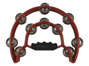 TAMBOURINE DOUBLE MOON RED 10.5inX8.5in