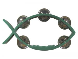 TAMBOURINE LITTLE FISH GREEN 8X4.5