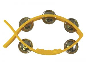 TAMBOURINE LITTLE FISH YELLOW 8inX4.5in