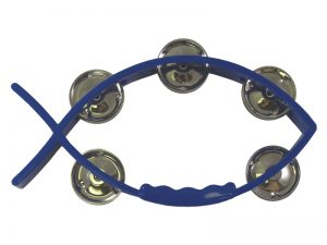 TAMBOURINE LITTLE FISH BLUE 8inX4.5in
