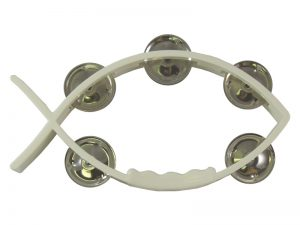 TAMBOURINE LITTLE FISH WHITE 8inX4.5in