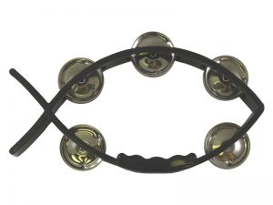 TAMBOURINE LITTLE FISH BLACK 8inX4.5in