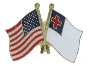 LAPEL PIN AMERICA / CHRISTIAN FLAG GOLD PK6