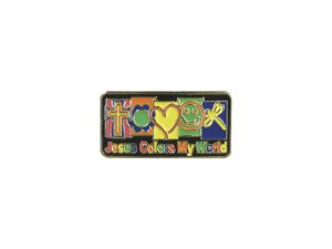 JESUS COLORS MY WORLD LAPEL PIN  – PACK OF 12