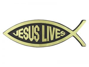 AUTO EMBLEM JESUS LIVES FISH GOLD PK6
