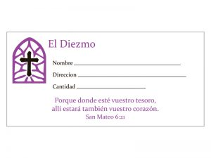 OFFERING ENVELOPE SPANISH EL DIEZMO STAINED GLASS 100CT