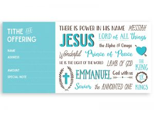 OFFERING ENVELOPE NAMES OF JESUS 100CT