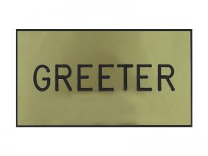 BADGE ENGRAVED GREETER GOLD MAGNET
