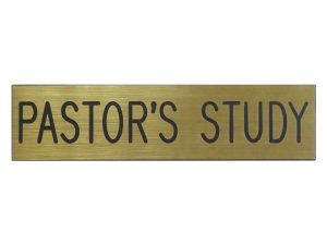 ENGRAVED SIGN PASTOR'S STUDY ADHESIVE BACK GOLD