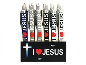 PEN I LOVE JESUS METAL CLICK DISPLAY PACK 24