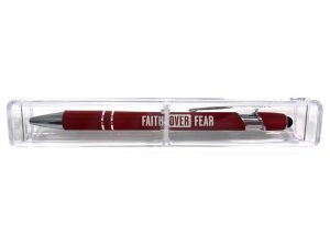 GIFT PEN SOFT TOUCH FAITH OVER FEAR DARK RED