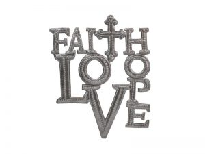 FTP HAND-HAMMERED DECOR FAITH HOPE LOVE