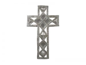 FTP HAND-HAMMERED DECOR CROSS FILLED DIAMOND