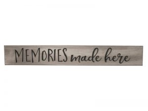 SIGN ENGRAVED WOOD MEMORIES MADE HERE SAGE 3.5X24