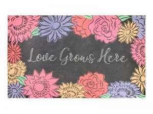 DOOR MAT FLOCK LOVE GROWS HERE  30X18