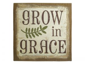 WALL DECOR BURLAP PRINTING GROW IN GRACE