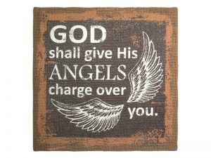 WALL DECOR BURLAP PRINTING GOD'S ANGELS