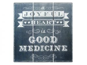 HOME DECOR MDF CHALK PRINT JOYFUL HEART 12 X 12