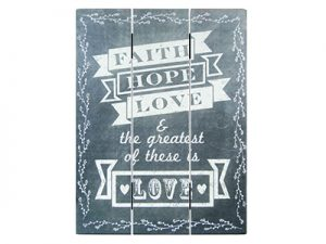 WALL DECOR WOOD SLAT CHALK PRINT FAITH HOPE LOVE 12X16
