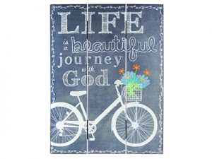 WALL DECOR WOOD SLAT CHALK PRINT LIFE ISA BEAUTIFUL JOURNEY 12X16
