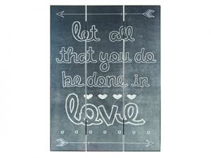 WALL DECOR WOOD SLAT CHALK PRINT LET ALL THAT YOU DO 12X16