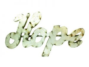 WALL DECOR RUSTIC METAL HOPE