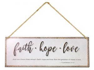 WALL DECOR METAL W/ ROPE FAITH HOPE LOVE