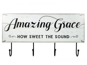 WALL DECOR WOOD W/ HOOKS AMAZING GRACE