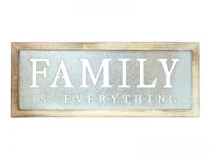 WALL DECOR TIN FAMILY IS EVERYTHING 30X11.75X.5