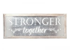 WALL DECOR TIN STRONGER TOGETHER 30X11.75X.5