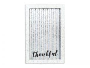 WALL DECOR CORRUGATED TIN THANKFUL 18X11.75X.5