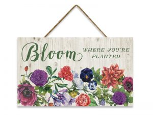 WALL DECOR WOOD W/ ROPE BLOOM