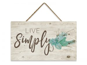 WALL DECOR WOOD W/ ROPE LIVE SIMPLY