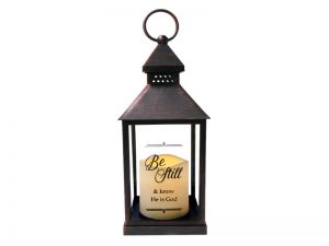 "BROWN LED CANDLE LANTERN  – ""BE STILL"""