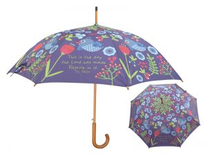 WOODEN STICK UMBRELLA THIS IS THE DAY (BIRD & FLOWERS)