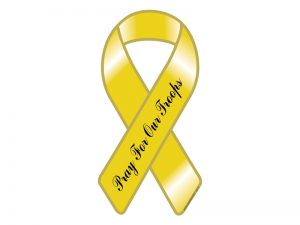 RIBBON MAGNET YELLOW PRAY FOR TROOPS – PACK OF 6