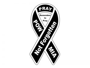 MINI RIBBON MAGNET POW-MIA  – PACK OF 6