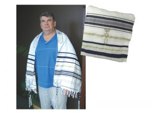 PRAYER SHAWL HEBREW MESSIANIC W/TALLIT BLUE 72″X 22″