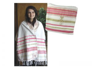 PRAYER SHAWL HEBREW MESSIANIC W/TALLIT PINK 72″X 22″