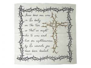 PRAYER CLOTH CROSS/THORNS 1 PETER 2:24 PK6