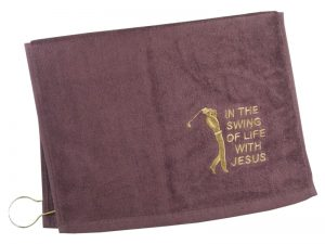 GOLF TOWEL IN THE SWING OF LIFE BURGUNDY
