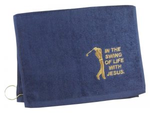 GOLF TOWEL IN THE SWING OF LIFE NAVY