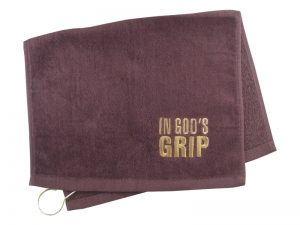 GOLF TOWEL IN GOD'S GRIP BURGUNDY